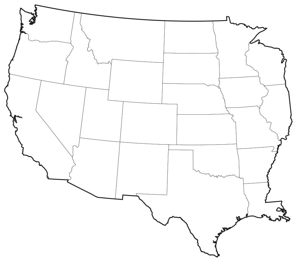 Black and white map of western us